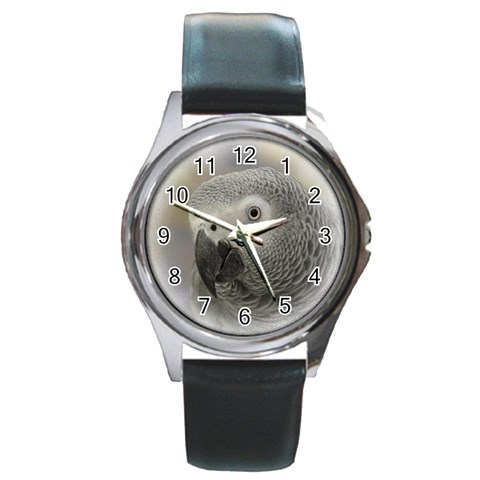 African Grey Silver-Tone Watch