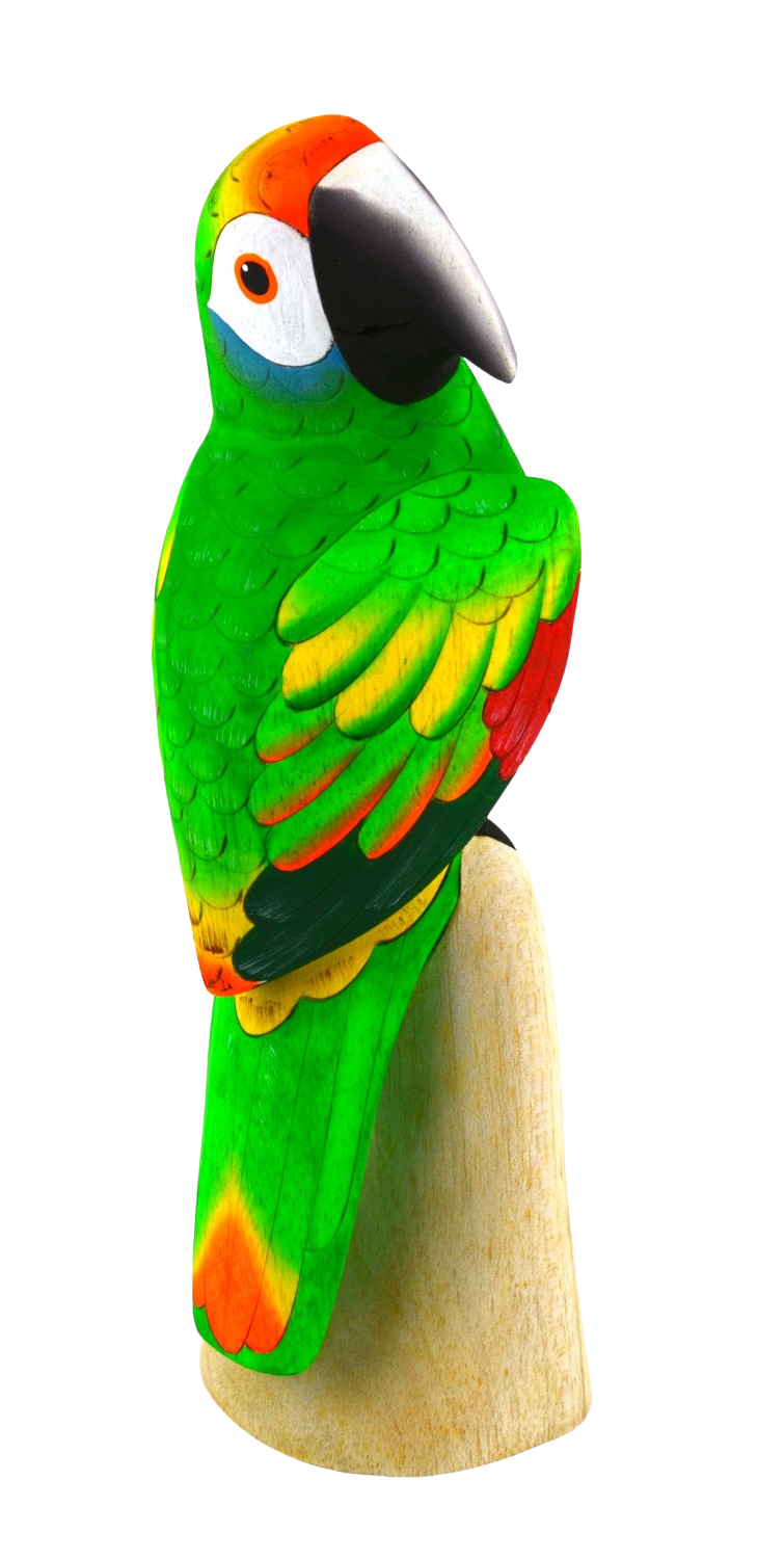 Blue Cheeked Amazon Parrot Wood Figurine