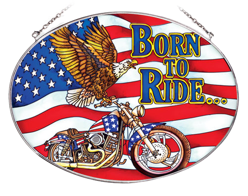 Born To Ride American Eagle Suncatcher - Large Oval