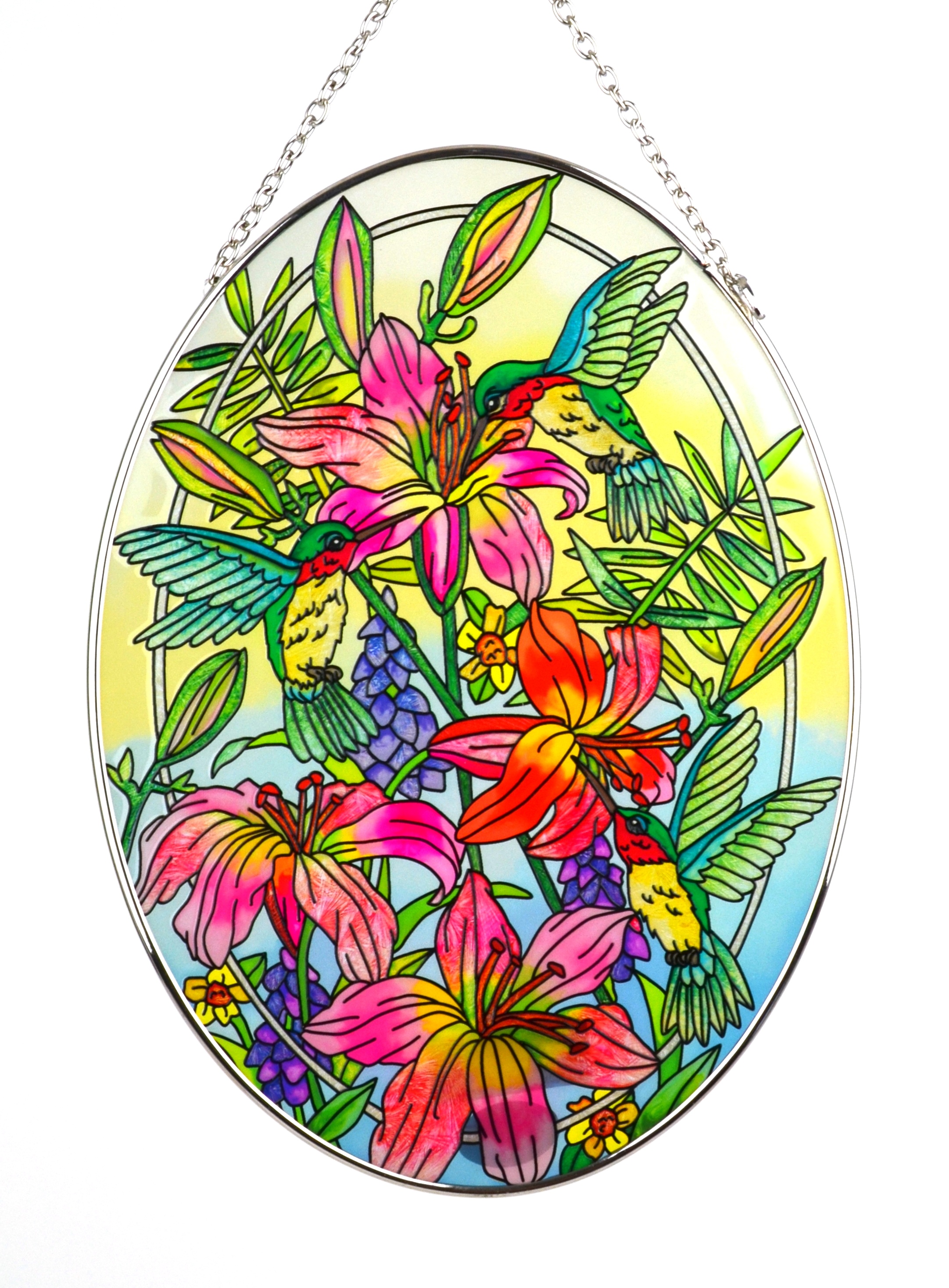 Daylilies and Hummingbirds Stained Glass Suncatcher - Large Oval