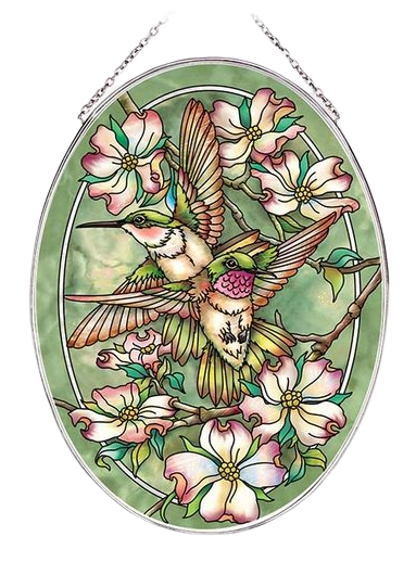 Friendship Hummingbirds Suncatcher - Large Oval