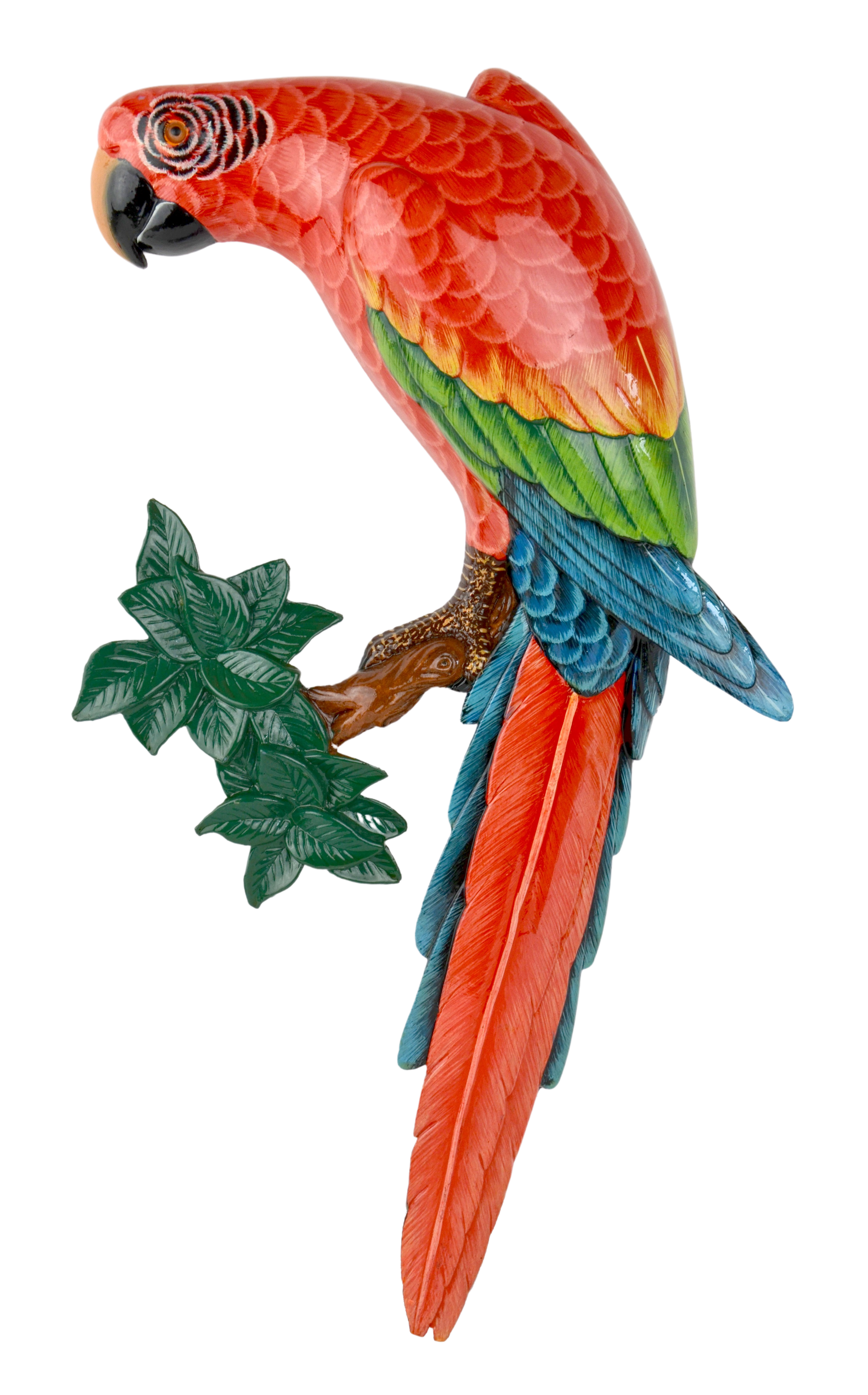 Green Wing Macaw on Branch Wall Plaque - Facing Left