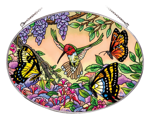 Hummingbird in Flight Suncatcher - Large Oval