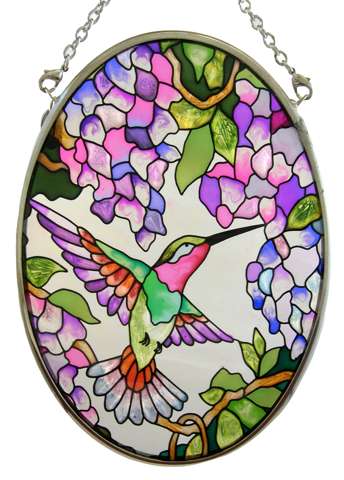 Hummingbird and Wisteria Stained Glass Art