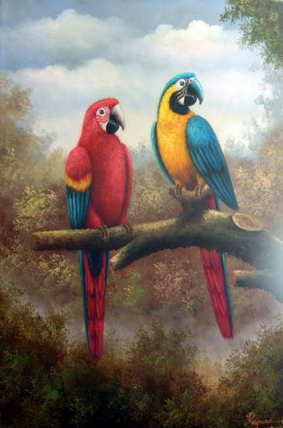 Two Macaws Oil Painting by Raymond