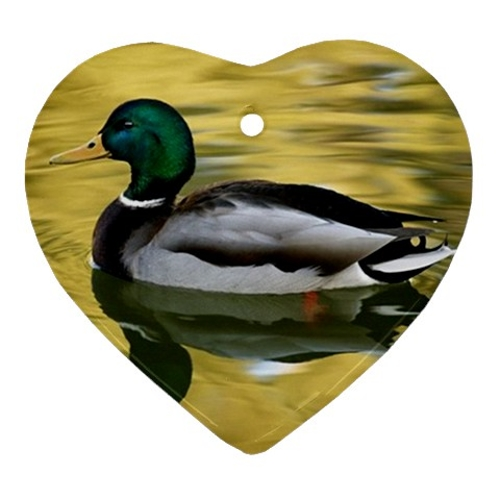 Mallard Duck Heart Porcelain Ornament