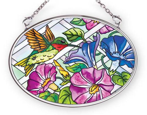 Morning Glory Hummingbird Stained Glass Art