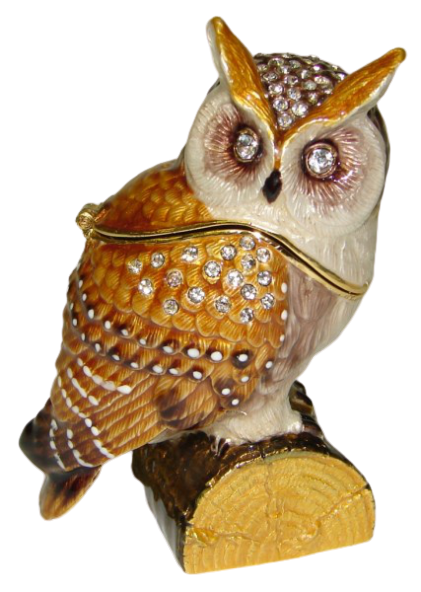 Owl on Log Trinket Box