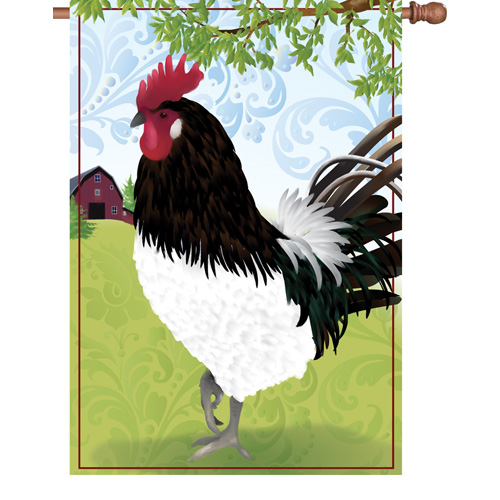 Barnyard Rooster House Flag