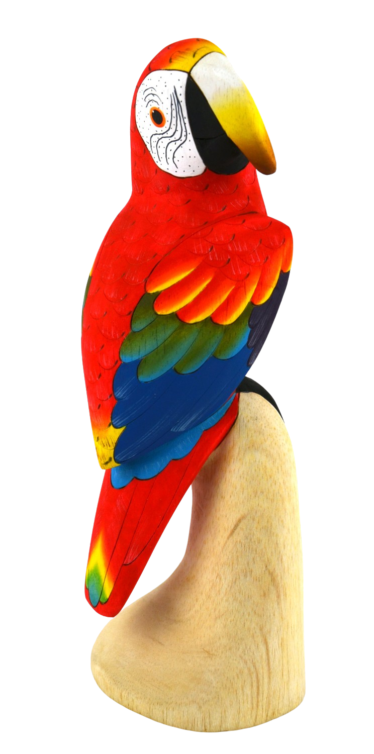 Scarlet Macaw Wood Figurine - Looking Right