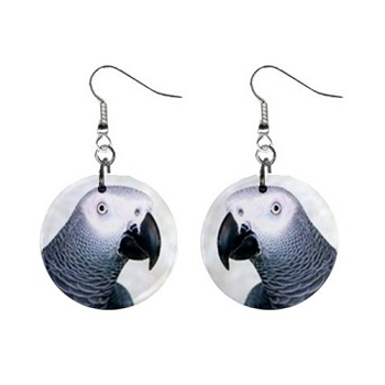 African Grey Parrot Earrings