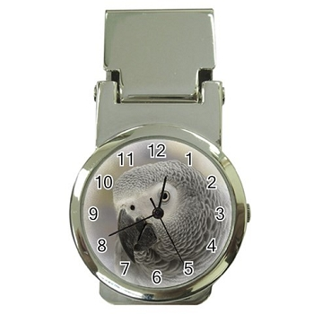 African Grey Money Clip Watch