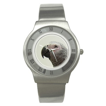 African Grey Stainless Steel Watch