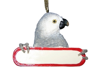 Personalizable African Grey Ornament