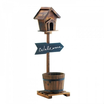 Birdhouse Rustic Barrel Planter