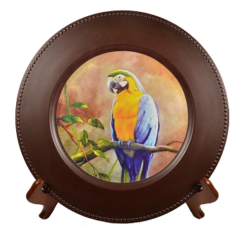 Blue and Gold Macaw Charger Plate