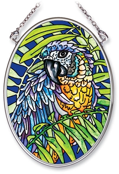 Blue and Gold Macaw Stained Glass Suncatcher