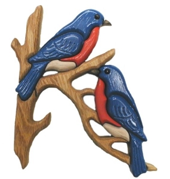 Bluebirds Oak Wall Plaque