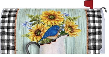 Bluebirds and Sunflowers Mailbox Cover
