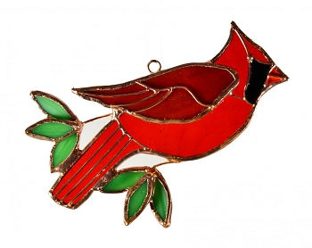 Cardinal Leaded Stained Glass Suncatcher