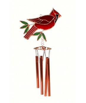 Cardinal Leaded Stained Glass Wind Chime