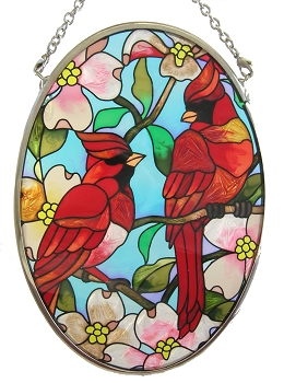 Cardinal Pair Stained Glass Suncatcher