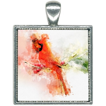 Cardinal Watercolor Necklace
