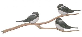 Chickadees Oak Wall Plaque