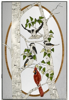 Chickadees with Cardinal Glass Window Decor Panel