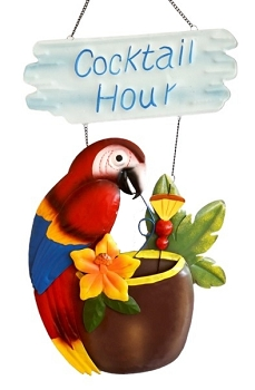 Cocktail Hour Macaw Wall Plaque