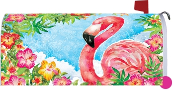 Flamingo Flowers Mailbox Cover