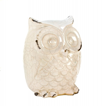 Glazed White Owl Statue