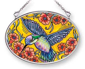Golden Hummingbird Stained Glass Suncatcher