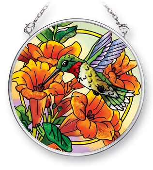Hummingbird and Trumpet Flowers Stained Glass Suncatcher