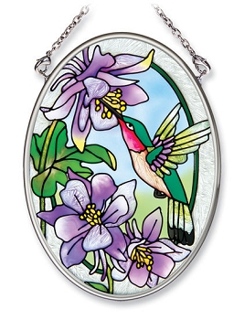 Hummingbird and Columbine Stained Glass Suncatcher