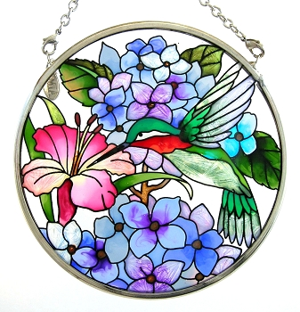 Hummingbird in Floral Garden Stained Glass