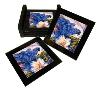 Hyacinth Macaw Glass Coaster Set