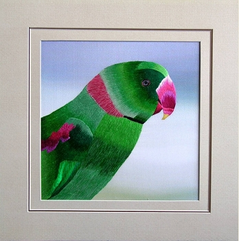 Indian Ring Neck Parakeet Embroidered Silk Art (Darker Eye)