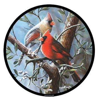 North American Cardinals Stained Glass Suncatcher