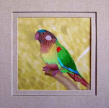 Painted Conure Embroidered Silk Art