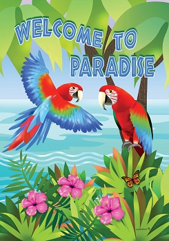 Welcome to Paradise Green-Wing Macaws Garden Flag