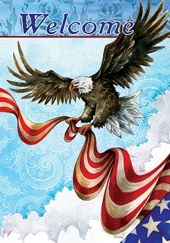 Patriotic Eagle House Flag