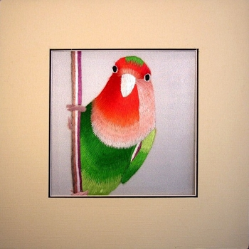Peach Face Lovebird Embroidered Silk Art