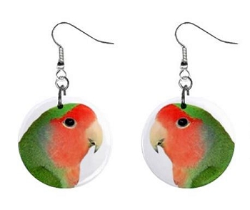 Peach Faced Lovebird Button Earrings