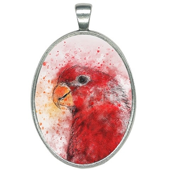 Red Lory Watercolor Necklace - Oval