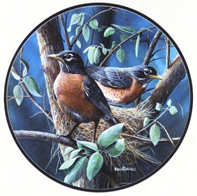 Robins Stained Glass Suncatcher