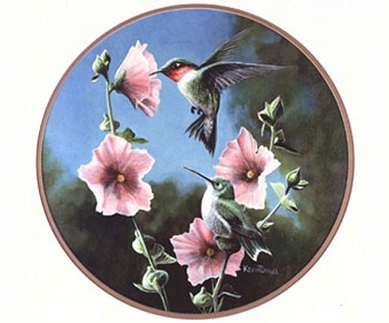 Ruby-Throated Hummingbird Stained Glass Suncatcher