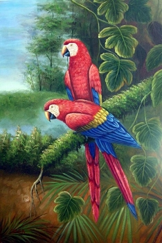 Scarlet Macaws Oil Painting