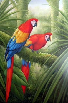Scarlet Macaws in Forest Oil Painting