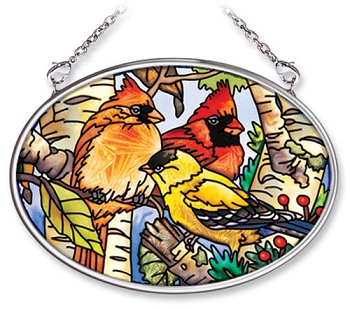 Songbirds in Birch Tree Stained Glass Art